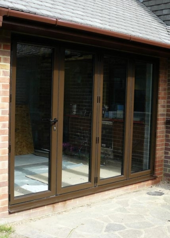 Aluminium bi-fold doors, (closed).
