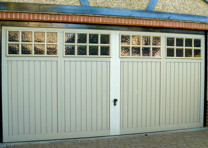 Double timber garage door.