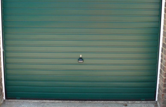 Green horizon garage door.